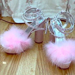 Marabou Pink Heels